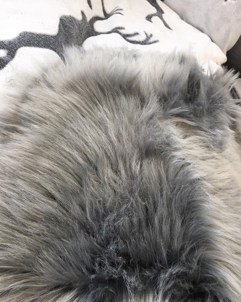 Large Grey Faux Sheepskin Rug